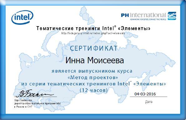 Сертификат Метод проектов (Элементы)